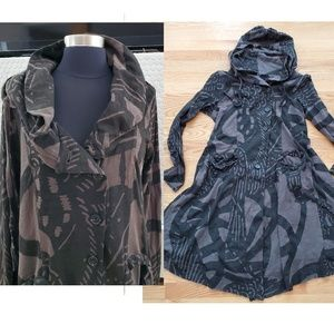 Long Fit & Flare Asymmetrical Buttons Camo Jacket